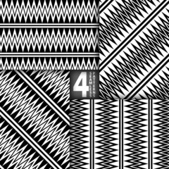 Abstract ZigZag Black White Vector Seamless Pattern, Set of 4