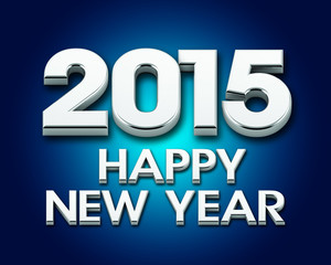 Happy New Year 2015 silver poster