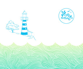 background with waves and lighthouse