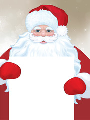 Vector of Santa Claus holding blank.