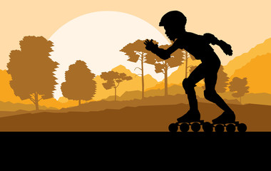 Kid roller skating in park vector background