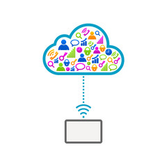 Internet cloud electronic online communication icons