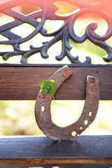 Wall Mural - Old horse shoe with clover leaf, outdoors