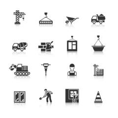 Construction Black Icons Set