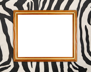 blank wood frame on zebra texture