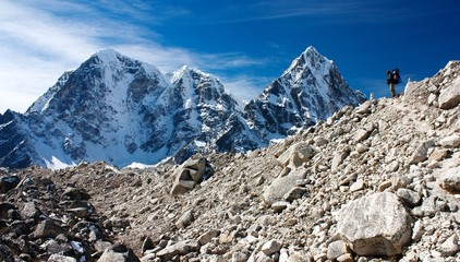 hiker on mountains - hiking in Nepal