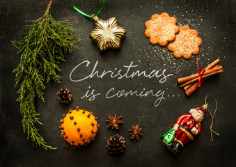 Christmas is coming - poster or postcard design
