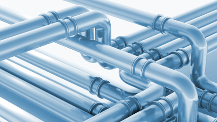 Modern industrial blue metal pipeline fragment. 3d render