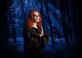 Fototapete - Witch in the moonlight forest