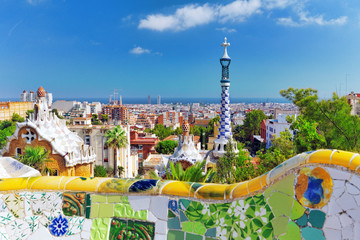 BARCELONA, SPAIN - SEPT 02,2014 :Gorgeous and amazing Park Guel - fototapety na wymiar