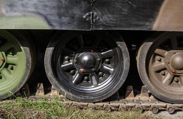 caterpillar rollers of tank close up
