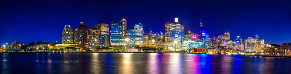 Panorama Night life Sydney city