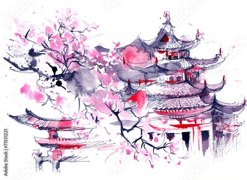 в нарисовать стиле картинки японском