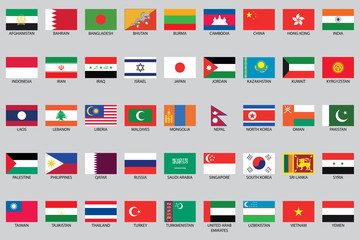 Set of Infographic Elements for the Country of Asia