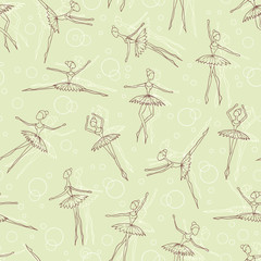 Vector pattern with fragile dancers in dance
