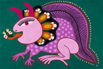 Ukrainian traditional fine art. Decorative fantasy animal. Origi