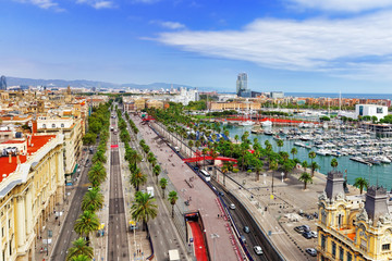 Panorama on Barcelona Seaport  from Columbus monument.Barcelona.