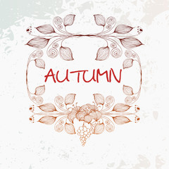 Vector vintage autumn leafs and flower background
