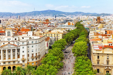 Panorama on Barcelona city from Columbus monument.Barcelona. Spa
