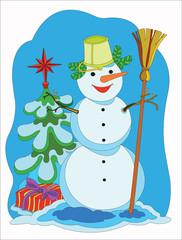 Снеговик у рождественской елки с подарком.