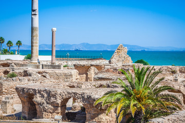 Keuken foto achterwand Tunesië Ancient ruins at Carthage, Tunisia with the Mediterranean Sea in