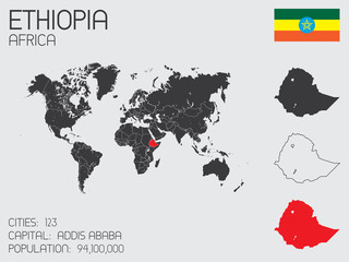 Set of Infographic Elements for the Country of Ethiopia