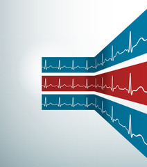 Abstract vector stripes with heartbeat line