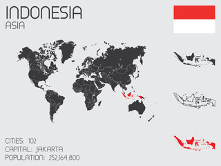 Set of Infographic Elements for the Country of Indonesia