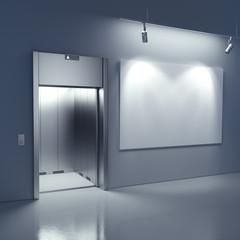 Blank billboard in the hall