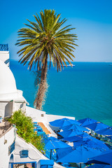 Papiers peints Tunisie Cafe with beautiful view on Sidi Bou Said harbour