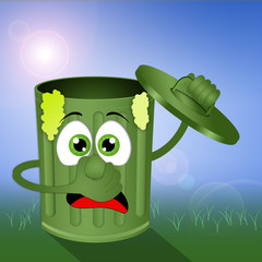 Funny green stinky garbage bin