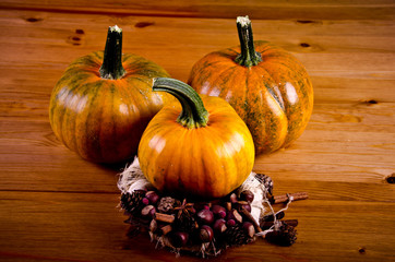 Ripe pumpkins for Halloween.