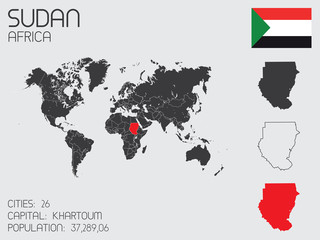 Set of Infographic Elements for the Country of Sudan