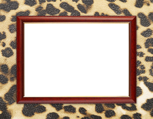 wood frame on leopard texture