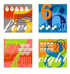 colorful number designs set 2
