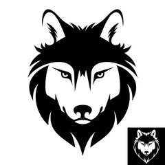 Wolf head logo in black and white. Inversion version included.