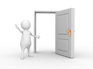 white 3d man and opened door