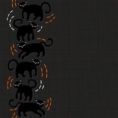 czarne koty halloween pionowy border na ciemnym tle