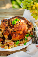 Whole Roast Chicken with Grapes, Garlic and Almonds
