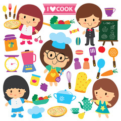chef kids and kitchen elements clip art set