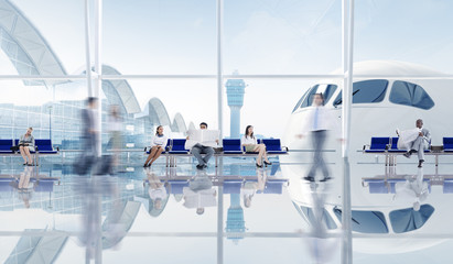 Group Of Business People In The Airport Wall mural