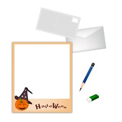 Pencil and Envelope with Jack-o-Lantern Pumpkin Instant Camera