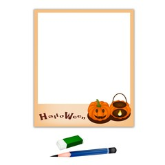 Pencil and Eraser with Two Jack O' Lantern Picture Frame