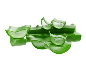 fresh aloe vera leaf isolated on white background