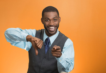 man showing thumbs down happy someone failed