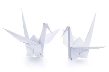 Two origami paper crane