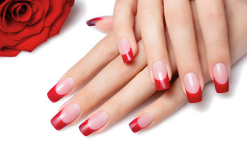 Red french manicure.