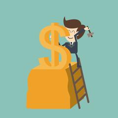 businessman carving dollar - make money concept