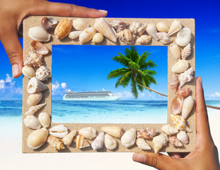 Sand Frame with Cruise on the Tropical Beach