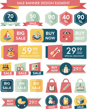 baby sale banner design flat background set, eps10